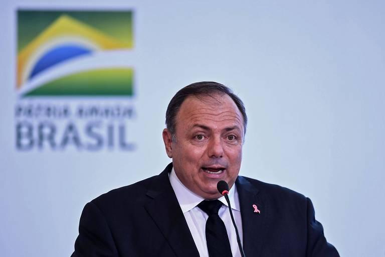 O ministro Eduardo Pazuello discursa em cerimônia realizada em outubro no Palácio do Planalto