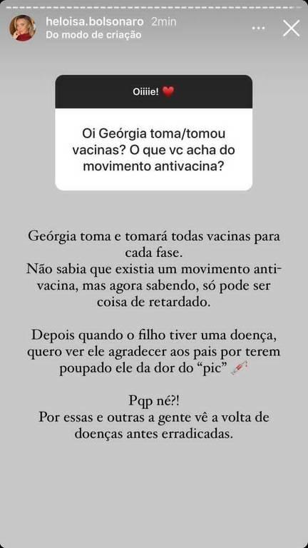 Print do Instagram de Heloísa Bolsonaro, esposa do deputado Eduardo Bolsonaro