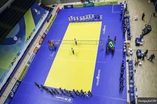 O novo piso do vôlei brasileiro, com as cores do Banco do Brasil