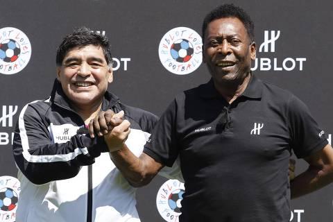 Um dia vamos bater bola no céu, diz Pelé sobre morte de Maradona