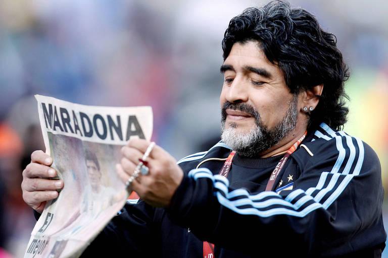 Maradona como técnico da seleção da argentina durante a Copa do Mundo de 2010