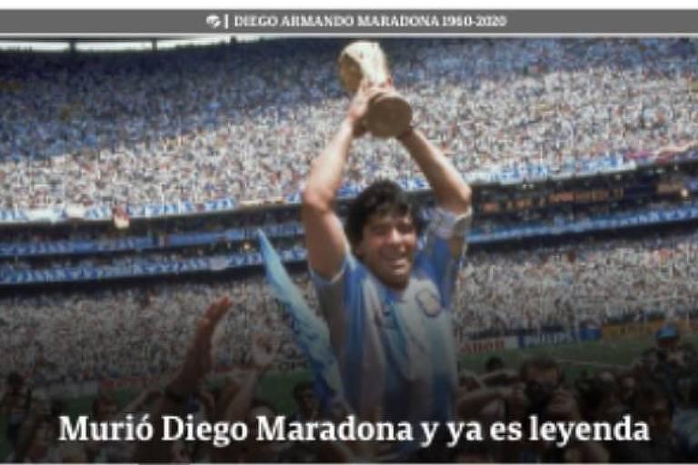 """Site do jornal argentino Clarín destaca morte de Maradona e o chama de """"lenda"""""""