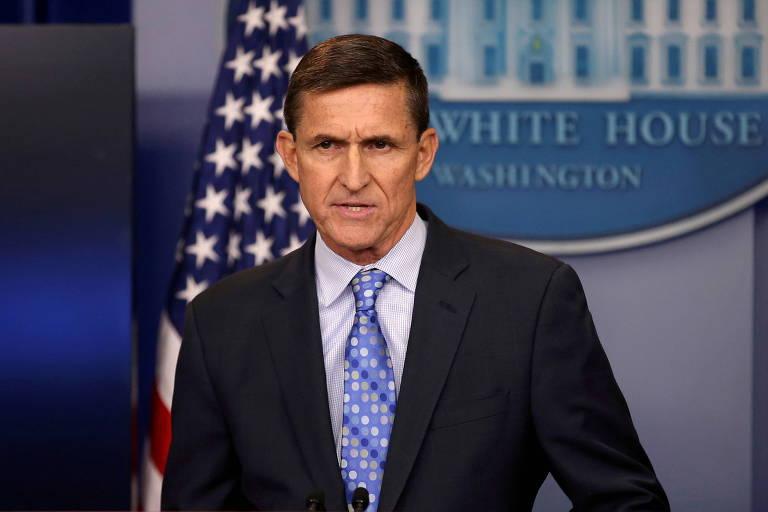 O ex-conselheiro de Segurança Nacional Michael Flynn durante pronunciamento na Casa Branca, em Washington