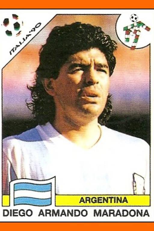 Maradona no álbum da Copa do Mundo de 1990, na Itália
