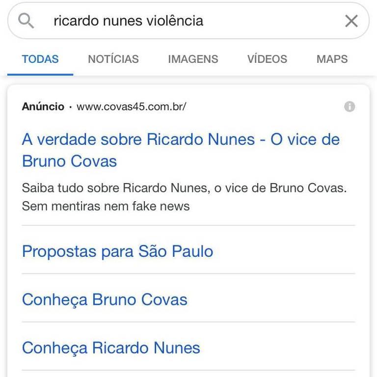 Veja resultados de pesquisas no Google por nome de vice de Covas