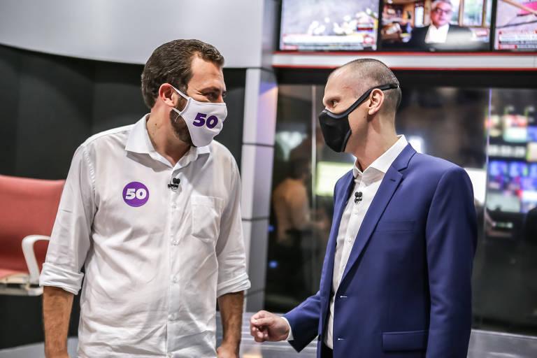 Primeiro debate do 2º turno entre Bruno Covas (PSDB) e Guilherme Boulos (PSOL), que se enfrentam pela Prefeitura de São Paulo. O encontro foi feito pela CNN