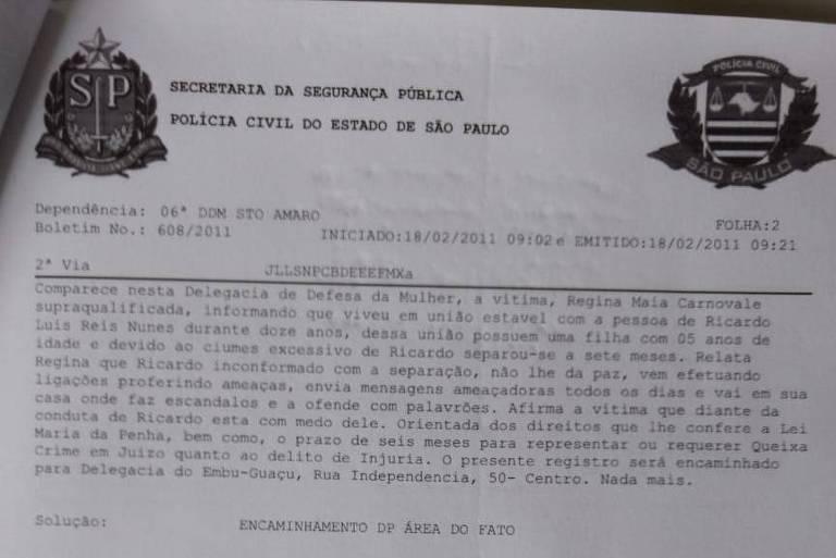 Boletim de ocorrência de Regina Carnovale contra Ricardo Nunes, registrado em 2011