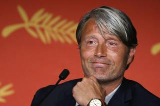 Jury member actor Mads Mikkelsen takes part in a news conference before the opening of the 69th Cannes Film Festival in Cannes