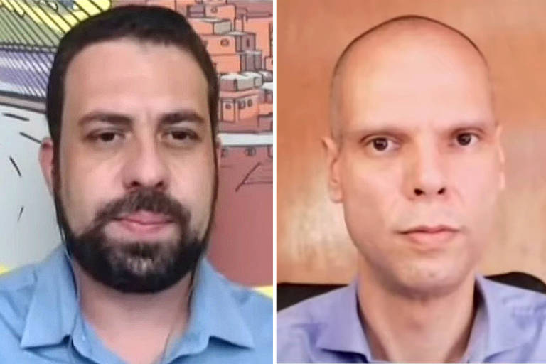 Imagem de Guilherme Boulos, de barba, e do prefeito Bruno Covas, durante sabatina online da Folha e do UOL