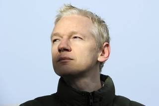 File photo shows WikiLeaks co-founder Assange speaking to the media outside Ellingham Hall in Norfolk, England