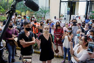 People protest in solidarity with dissident artists in Havana