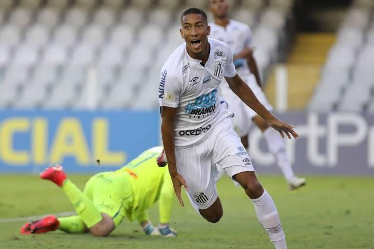 Bruno Marques, o Bruninho, celebra seu gol pelo Santos contra o Sport pela 23ª rodada do Brasileirão, na Vila Belmiro