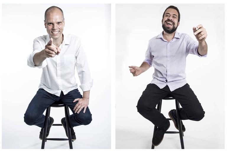 Os candidatos Bruno Covas (PSDB) e Guilherme Boulos (PSOL), que disputam a Prefeitura de São Paulo, em ensaio fotográfico
