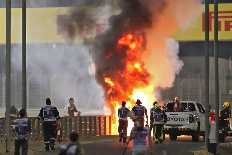 Acidente com o francês Romain Grosjean na F1 de Bahrein; veja imagens de hoje