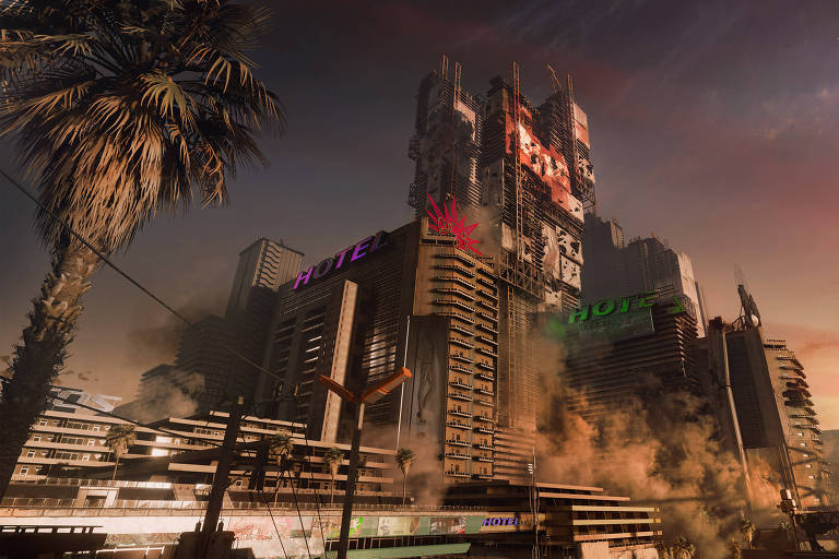 Cena do jogo polonês 'Cyberpunk 2077'