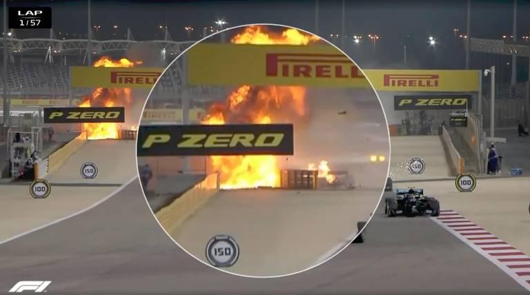 Carro de Romain Grosjean explode em chamas após batida durante o GP do Bahrein