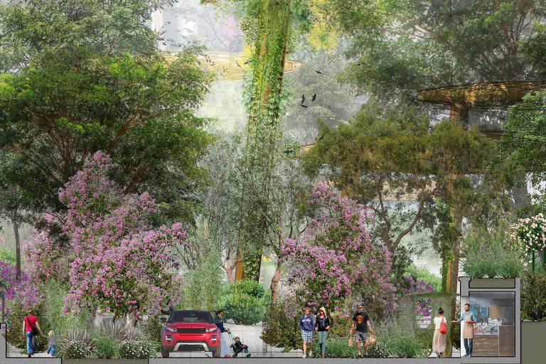 Projeto de como ficará o Boulevard da Diversidade / Parque das Flores, na região da Av. Paulista