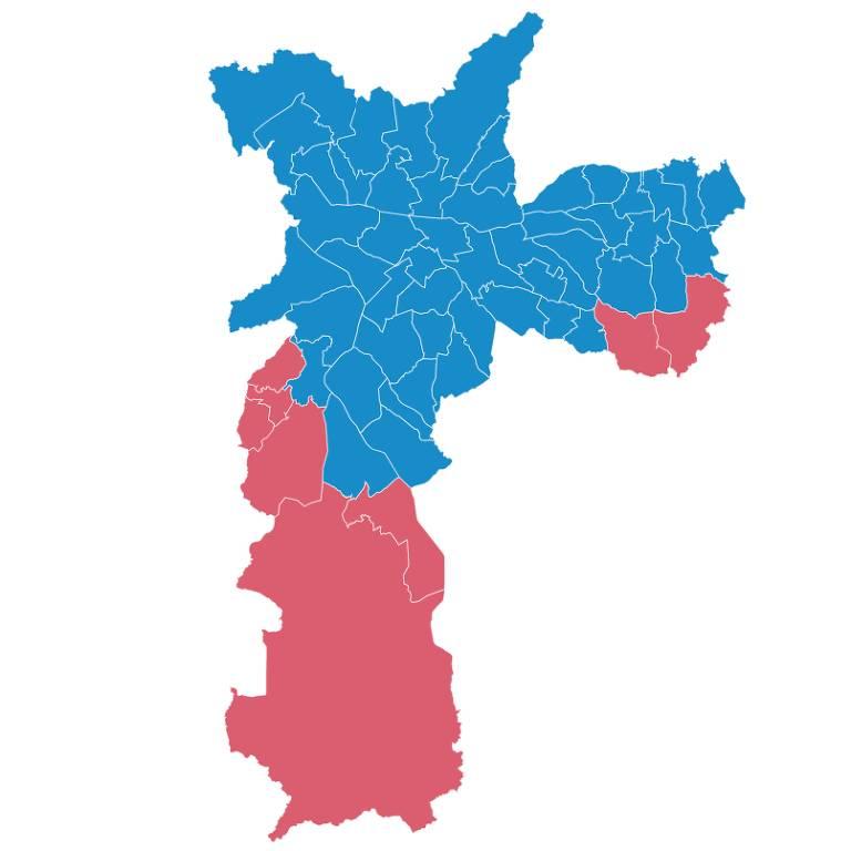 Mapa a cidade de SP; azul em locais que Covas ganhou