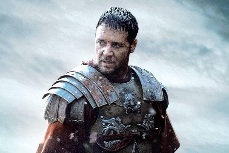 O ator Russell Crowe em cena do filme 'Gladiador', de Ridley Scott