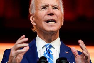 FILE PHOTO: U.S. President-elect Joe Biden delivers pre-Thanksgiving speech at transition headquarters in Wilmington, Delaware