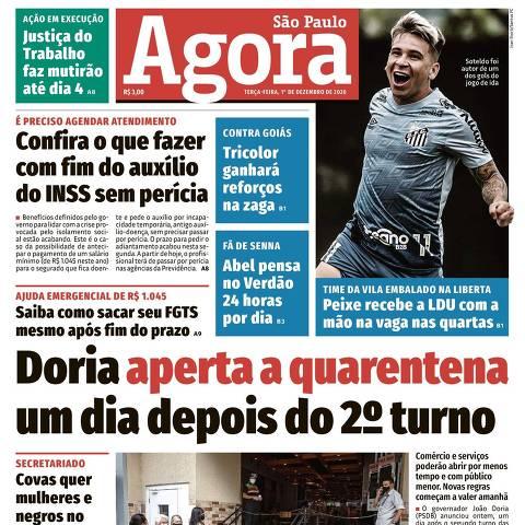Fac-símile da capa do jornal Agora São Paulo