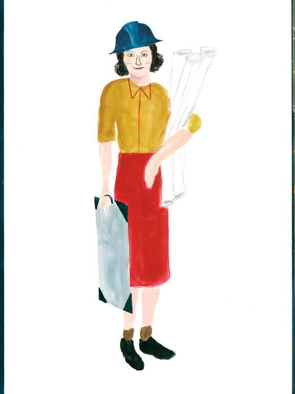 Desenho mostra Lina com uma prancheta em uma das mãos, várias papeis enrolados na outra e um chapéu de peão de obra na cabeça