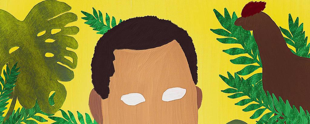 Ilustração de Chigozie Obioma feita por Jairo Malta, para ilustrada