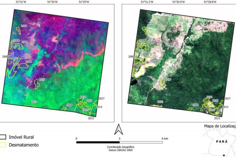 Mapas mostram contornos de áreas em que foi detectado desmatamento