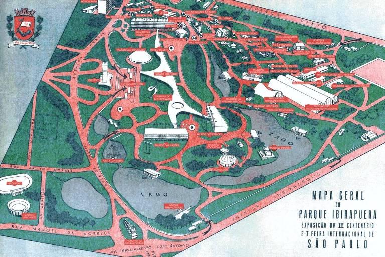 Plano geral do Ibirapuera mostra que o ginásio (no canto esquerdo, abaixo) era entendido como parte integrante do projeto do parque; é uma planta com o brasão da cidade de São Paulo, em tons de verde e vermelho