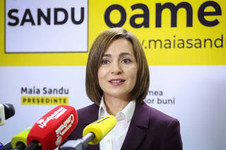 FILE PHOTO: Maia Sandu, winner of the second round of a presidential election, attends a news conference in Chisinau