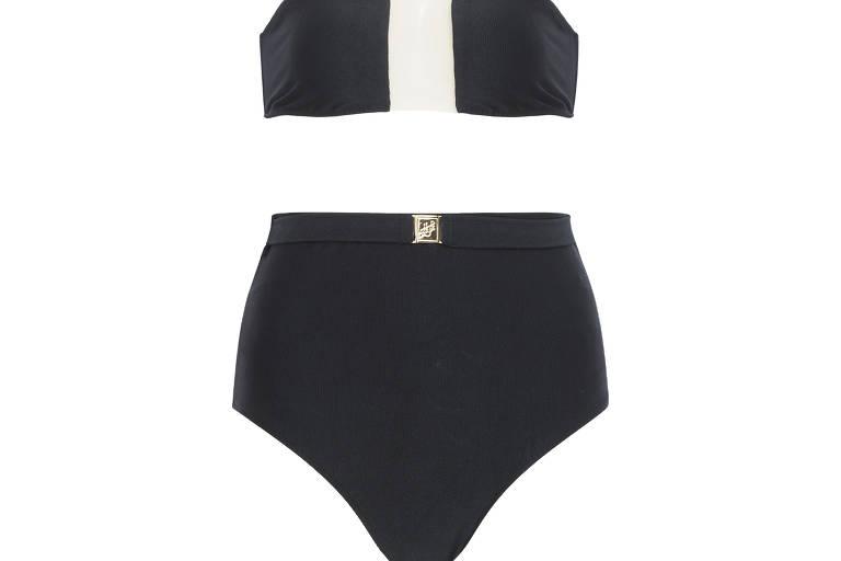 Biquini top faixa hype com tule preto C&A. Sugestão: R$ 89,99. Calcinha hype cintura alta preto  C&A. Sugestão: R$ 99,99
