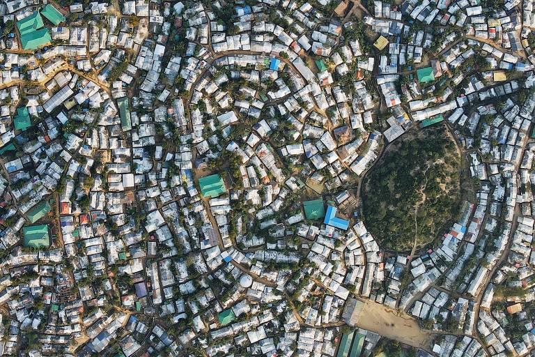 Vista aérea mostra o campo de refugiados de Kutupalong, em Ukhia, Bangladesh