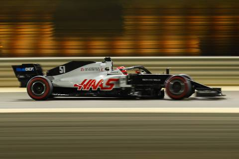 Haas F1's Brazilian driver Pietro Fittipaldi drives during the second practice session ahead of the Sakhir Formula One Grand Prix at the Bahrain International Circuit in the city of Sakhir on December 4, 2020. (Photo by Bryn Lennon / POOL / AFP)