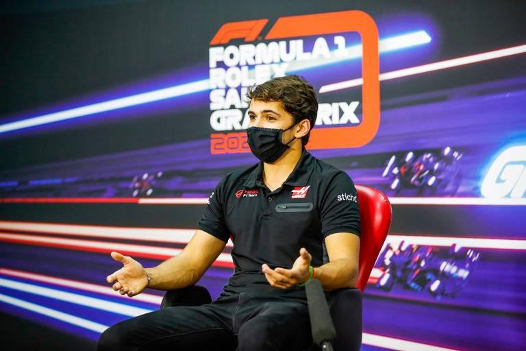 Pietro Fittipaldi em entrevista coletiva antes das atividades do GP de Sakhir, no Bahrein