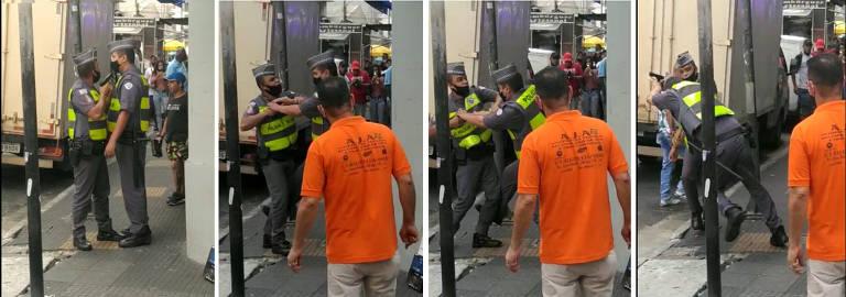 PM ameaça colega de farda com arma diante de multidão