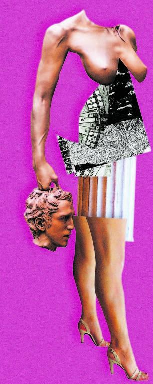 Montagem/colagem com fotos, na qual uma figura feminina segura a cabeça masculina de uma estátua