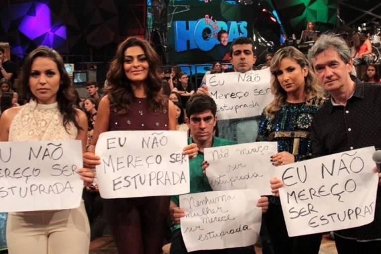 Marcius Melhem na campanha Eu Não Mereço Ser Estuprada, na Globo.