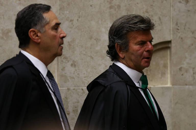 Os ministros Luís Roberto Barroso e Luiz Fux, no STF