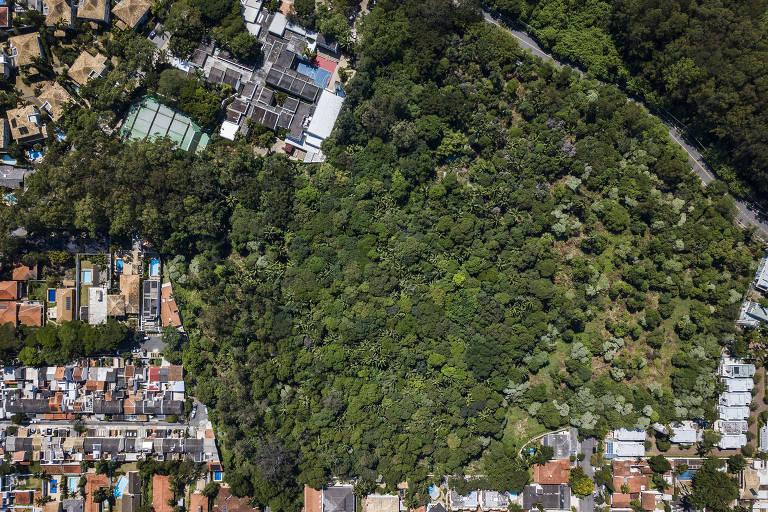 O Jardim Alfomares é uma área verde com remanescentes de mata atlântica em um bairro residencial na zona sul da capital; terreno foi comprado por construtora para nele fazer um condomínio de alto padrão; vista aérea mostra a enorme extensão do terreno, completamente coberto de árvores, em meio ao bairro