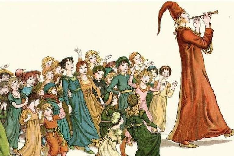 Desenho de crianças seguindo um flautista que veste chapéu e capa marrons