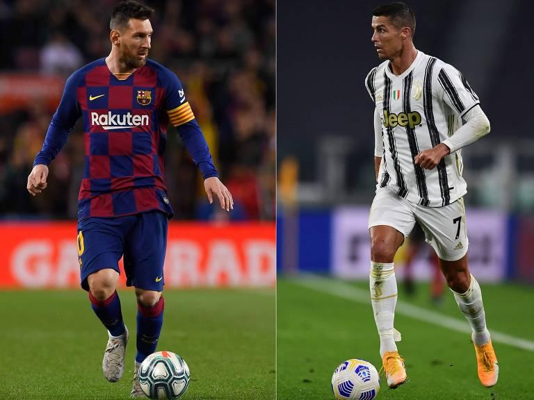 Lionel Messi e Cristiano Ronaldo em ação por seus clubes