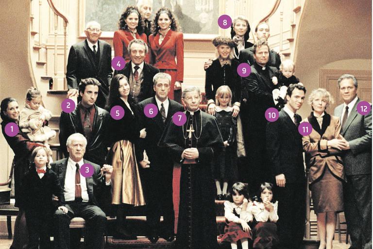 """foto com personagens numerados para o quem é quem na saga """"Poderoso Chefão"""""""