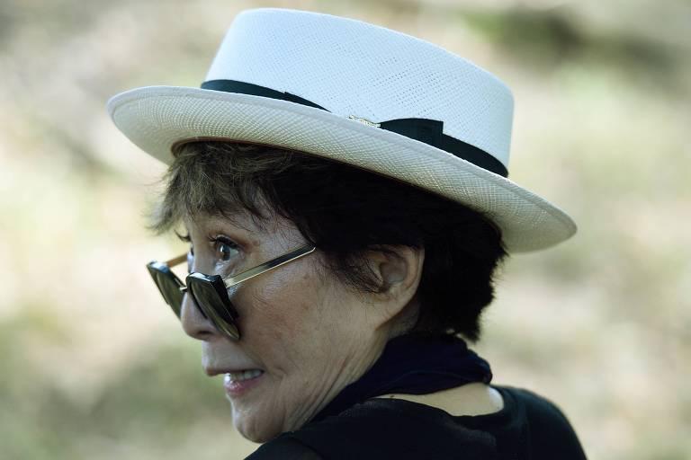 Yoko Ono durante evento em Nova York