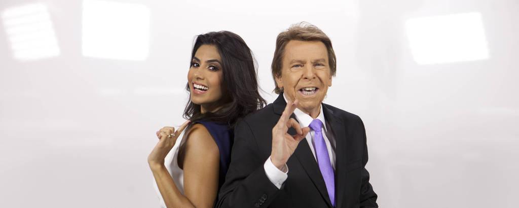 Flávia Noronha e Nelson Rubens, apresentadores do TV Fama
