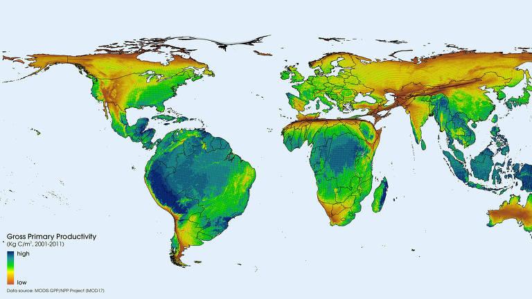 O Brasil é o país mais rico do mundo pelo mapa de GPP, produção cumulativa (síntese de matéria orgânica) gerada pela água, luz e ar