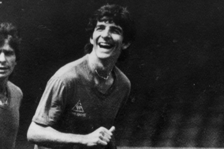 Paolo Rossi durante treino da seleção italiana na Espanha, em meio à disputa da Copa do Mundo de 1982