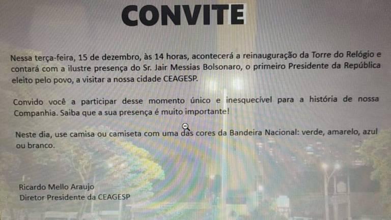 Convite, assinado pelo diretor do Ceasa, pede que permissionários vistam cores da bandeira durante visita de Bolsonaro