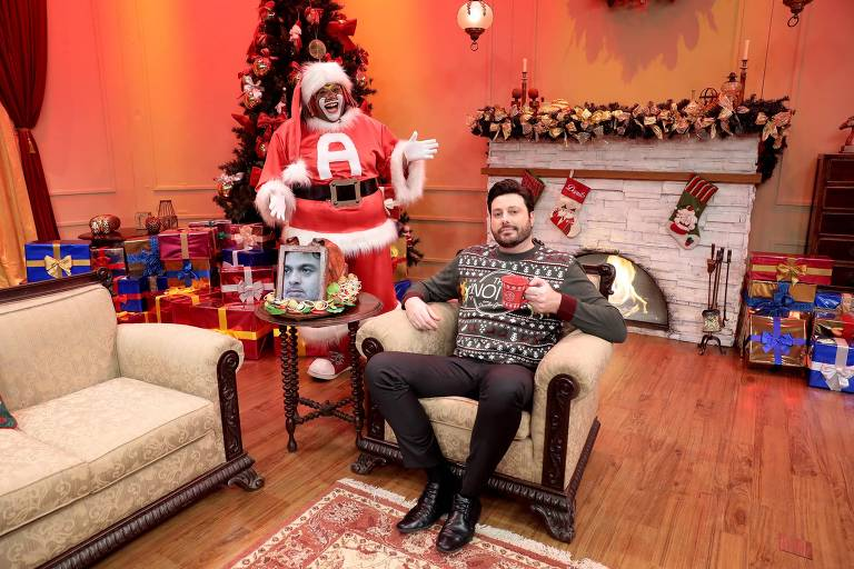 Danilo Gentili na gravação do The Noite especial de Natal, no SBT