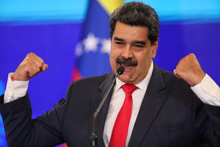 Venezuelan President Nicolas Maduro holds a press conference in Caracas