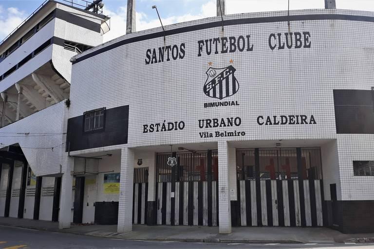 Fachada do estádio Urbano Caldeira, a Vila Belmiro, casa do Santos